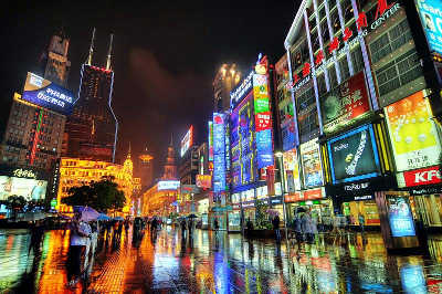 Study Abroad in Shanghai - Street Scene at Night